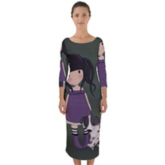 Dolly Girl And Dog Quarter Sleeve Midi Bodycon Dress by Valentinaart