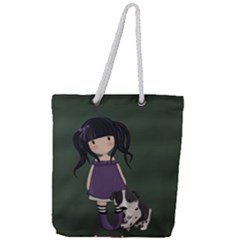 Dolly Girl And Dog Full Print Rope Handle Tote (large) by Valentinaart