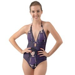 Dolly Girl And Dog Halter Cut Out One Piece Swimsuit