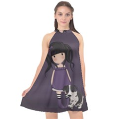 Dolly Girl And Dog Halter Neckline Chiffon Dress  by Valentinaart