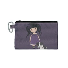 Dolly Girl And Dog Canvas Cosmetic Bag (small) by Valentinaart
