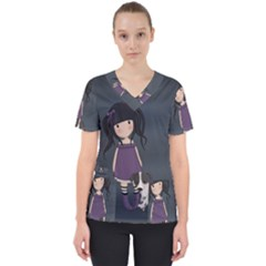 Dolly Girl And Dog Scrub Top