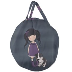 Dolly Girl And Dog Giant Round Zipper Tote by Valentinaart