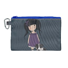 Dolly Girl And Dog Canvas Cosmetic Bag (large) by Valentinaart