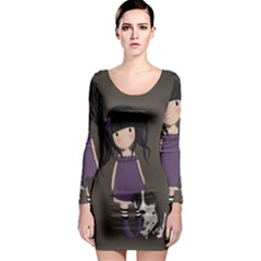 Dolly Girl And Dog Long Sleeve Bodycon Dress by Valentinaart