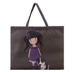 Dolly Girl And Dog Zipper Large Tote Bag