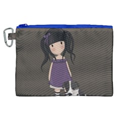 Dolly Girl And Dog Canvas Cosmetic Bag (xl) by Valentinaart