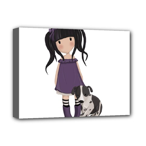 Dolly Girl And Dog Deluxe Canvas 16  X 12