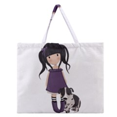 Dolly Girl And Dog Zipper Large Tote Bag by Valentinaart