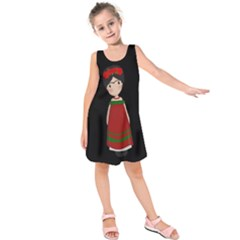 Frida Kahlo Doll Kids  Sleeveless Dress by Valentinaart