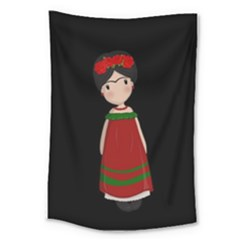 Frida Kahlo Doll Large Tapestry by Valentinaart