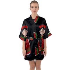 Frida Kahlo Doll Quarter Sleeve Kimono Robe by Valentinaart