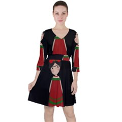 Frida Kahlo Doll Ruffle Dress by Valentinaart
