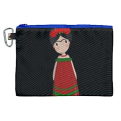 Frida Kahlo Doll Canvas Cosmetic Bag (xl) by Valentinaart