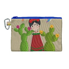Frida Kahlo Doll Canvas Cosmetic Bag (large) by Valentinaart