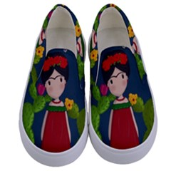 Frida Kahlo Doll Kids  Canvas Slip Ons