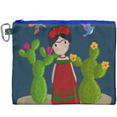 Frida Kahlo Doll Canvas Cosmetic Bag (xxxl) by Valentinaart