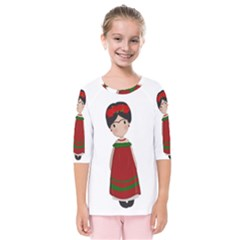 Frida Kahlo Doll Kids  Quarter Sleeve Raglan Tee