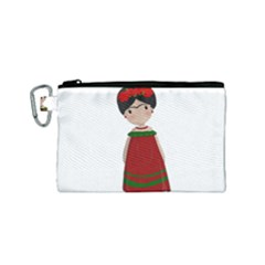 Frida Kahlo Doll Canvas Cosmetic Bag (small)