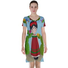 Frida Kahlo Doll Short Sleeve Nightdress