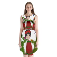 Frida Kahlo Doll Sleeveless Chiffon Dress