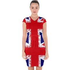 Union Jack London Flag Uk Capsleeve Drawstring Dress  by Celenk