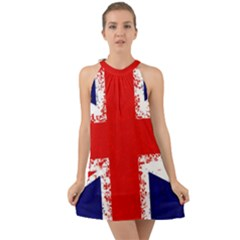 Union Jack London Flag Uk Halter Tie Back Chiffon Dress by Celenk