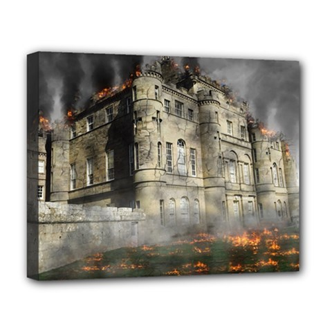 Castle Ruin Attack Destruction Deluxe Canvas 20  X 16   by Celenk