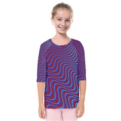 Wave Pattern Background Curves Kids  Quarter Sleeve Raglan Tee