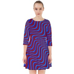 Wave Pattern Background Curves Smock Dress