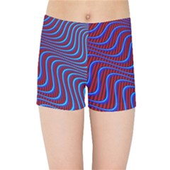 Wave Pattern Background Curves Kids Sports Shorts