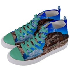 Mountain Canyon Landscape Nature Women s Mid Top Canvas Sneakers by Celenk
