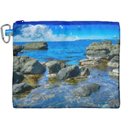 Shoreline Sea Coast Beach Ocean Canvas Cosmetic Bag (xxxl) by Celenk