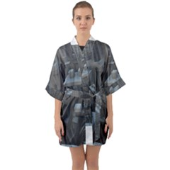 Backdrop Pattern Surface Texture Quarter Sleeve Kimono Robe by Celenk