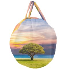 Tree Sea Grass Nature Ocean Giant Round Zipper Tote