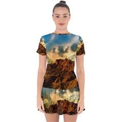 Mountain Sky Landscape Nature Drop Hem Mini Chiffon Dress by Celenk