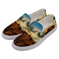 Mountain Sky Landscape Nature Men s Canvas Slip Ons by Celenk