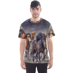 Horses Stampede Nature Running Men s Sports Mesh Tee