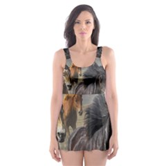 Horses Stampede Nature Running Skater Dress Swimsuit
