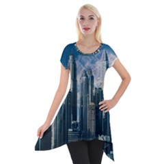 Skyscraper Cityline Urban Skyline Short Sleeve Side Drop Tunic