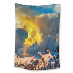 Mountains Clouds Landscape Scenic Large Tapestry