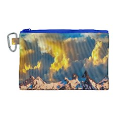 Mountains Clouds Landscape Scenic Canvas Cosmetic Bag (large) by Celenk