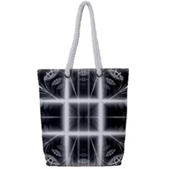 Geometry Pattern Backdrop Design Full Print Rope Handle Tote (small)