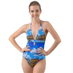 Buildings Architecture Architectural Halter Cut Out One Piece Swimsuit