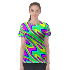 Lilac Yellow Wave Abstract Pattern Women s Sport Mesh Tee by Celenk