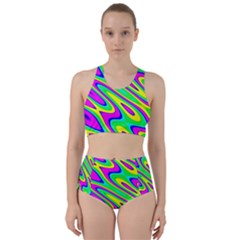 Lilac Yellow Wave Abstract Pattern Racer Back Bikini Set