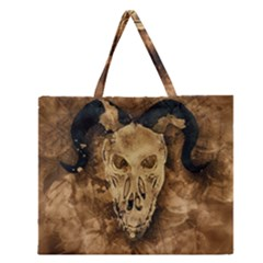 Skull Demon Scary Halloween Horror Zipper Large Tote Bag
