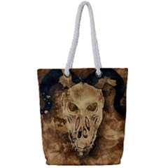 Skull Demon Scary Halloween Horror Full Print Rope Handle Tote (small) by Celenk