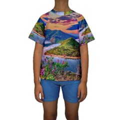 Landscape River Nature Water Sky Kids  Short Sleeve Swimwear