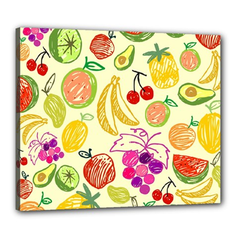 Cute Fruits Pattern Canvas 24  X 20  by paulaoliveiradesign